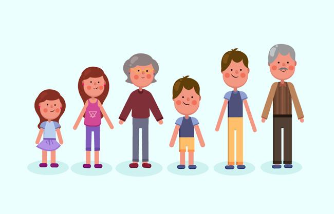 扁平化卡通老人青年小孩形象设计矢量图  可爱的卡通家庭人物矢量