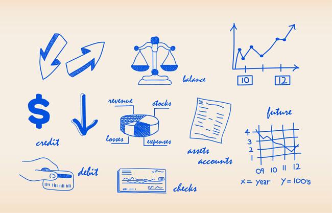 数据图表设计图片矢量图  手绘  简笔画   饼状图  坐标图  箭头