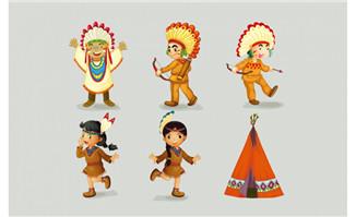 卡通可爱小孩原始部落服