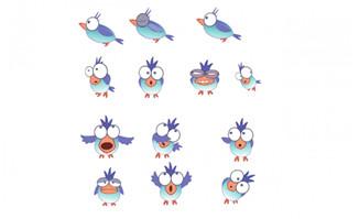可爱的蓝色小鸟表情包设