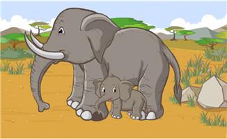 母象与小象在一起的动漫