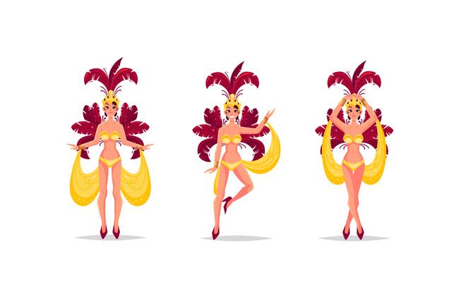 手绘巴西狂欢节舞者矢量素材