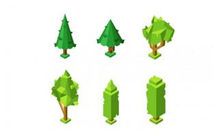 2.5D卡通绿色大树春季元素