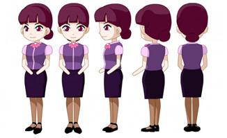 Q版卡通动漫女服务行业人设5视图人设素材