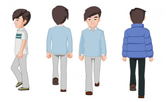 不同角度走路的男士人设二维动漫人物素材
