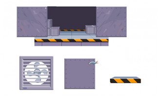 手绘运输带质感机械床道