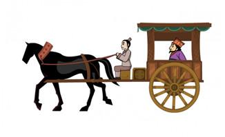 古代马车拉人动画马车道具素材
