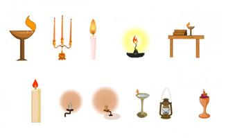 古代各种蜡灯造型道具flash素材动画效果
