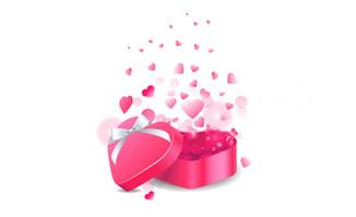 粉色桃心礼盒打开后桃心创意背景设计