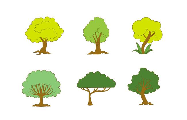 扁平化卡通树木造型艺术设计素材下载  卡通可爱矢量树木素材合集图片