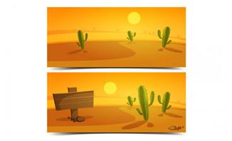 沙漠路牌卡通仙人掌元素