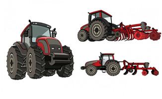 农用拖拉机播种机造型手绘背景设计