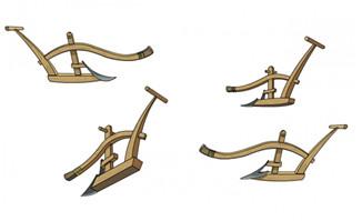 中国古代发明木头耕地用道具造型背景图