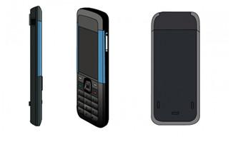 手绘三视图的老式手机造型设计图