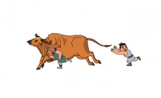 2个人物追着牛跑的动作动