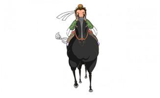 正面骑马跑步的马匹动作