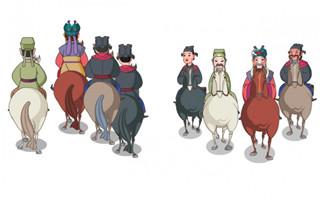 一群人骑马走路的正面与