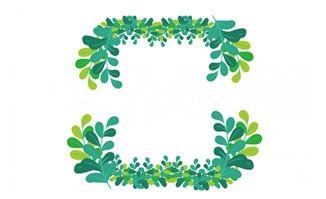 卡通矢量清新绿色树叶环