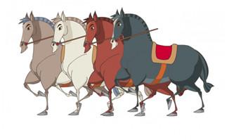 一起出发的不同颜色的马