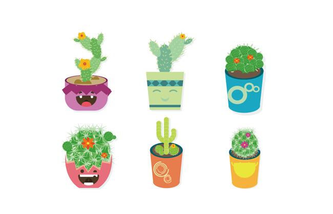 创意卡通可爱小盆栽绿植仙人掌素材