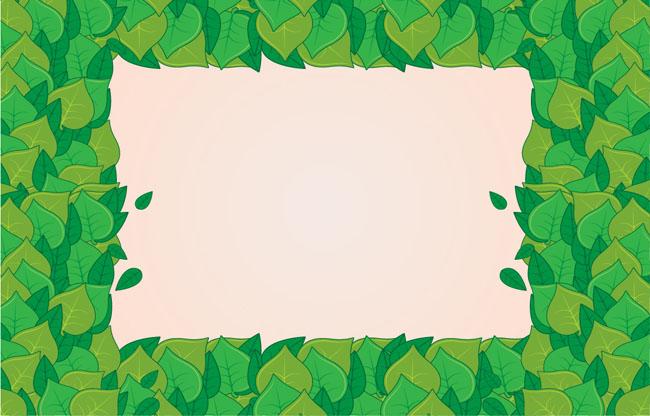手绘绿叶方形边框装饰ai素材下载