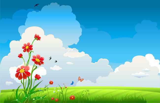 扁平化花草天空飘来风景素材设计  蓝色天空绿色草地红色鲜花背景图