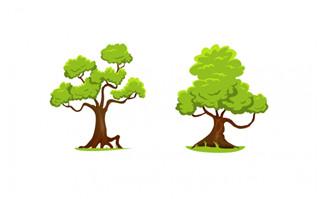 清新卡通植物树木矢量设计素材