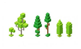 创意抽象卡通绿植树木造型设计AI素材