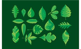 手绘卡通植物绿色叶子形状设计素材
