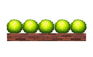 创意卡通抽象植物园艺景观矢量设计素材