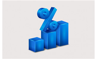 蓝色百分比数据图表矢量