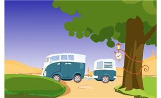 卡通车子室外草地场景设