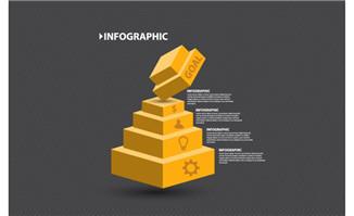 立方体阶梯信息图表设计