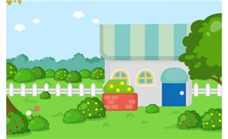 家园的草坪和花朵场景设
