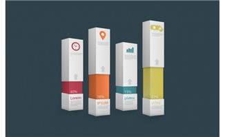 创意立体包装元素百分比柱状图表素材设计