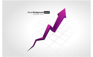紫色箭头上升图表设计