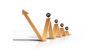棕色箭头的业务增长图表设计