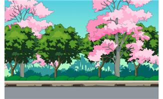 道路旁两岸的树木flash动漫