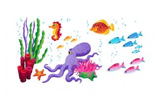 海洋海底素材海马与鱼图
