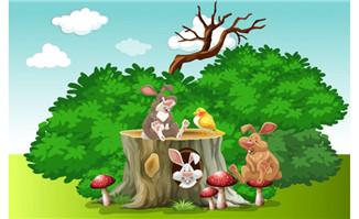 花园矢量动物兔子和鸟插