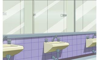 学校卫生间内部洗手池场