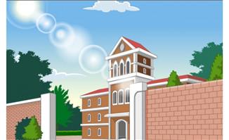 学校校门围墙场景素材下