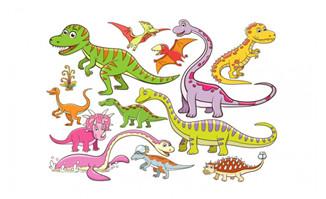 单色恐龙卡通形象矢量设
