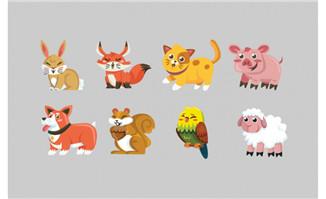 扁平化卡通动物素材合集
