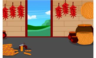 农村干辣椒和水缸卡通背