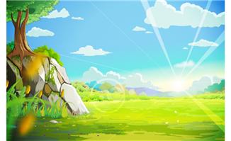 森林中阳光明媚和石头上
