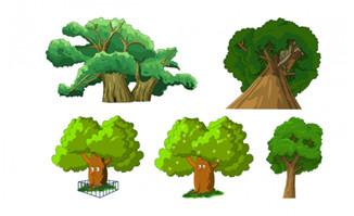 参天大树植物景观树木造型道具