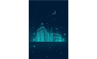蓝色mbe风格建筑创意背景