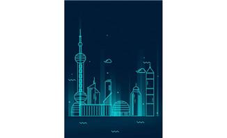 发光线条大都市上海建筑