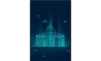 蓝色科技泰姬陵建筑背景